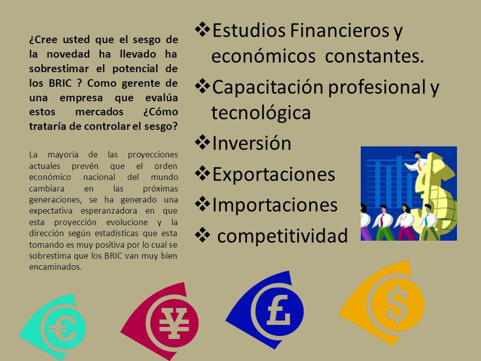 Estudios Financieros y económicos constantes.