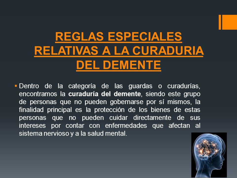 REGLAS ESPECIALES RELATIVAS A LA CURADURIA DEL DEMENTE