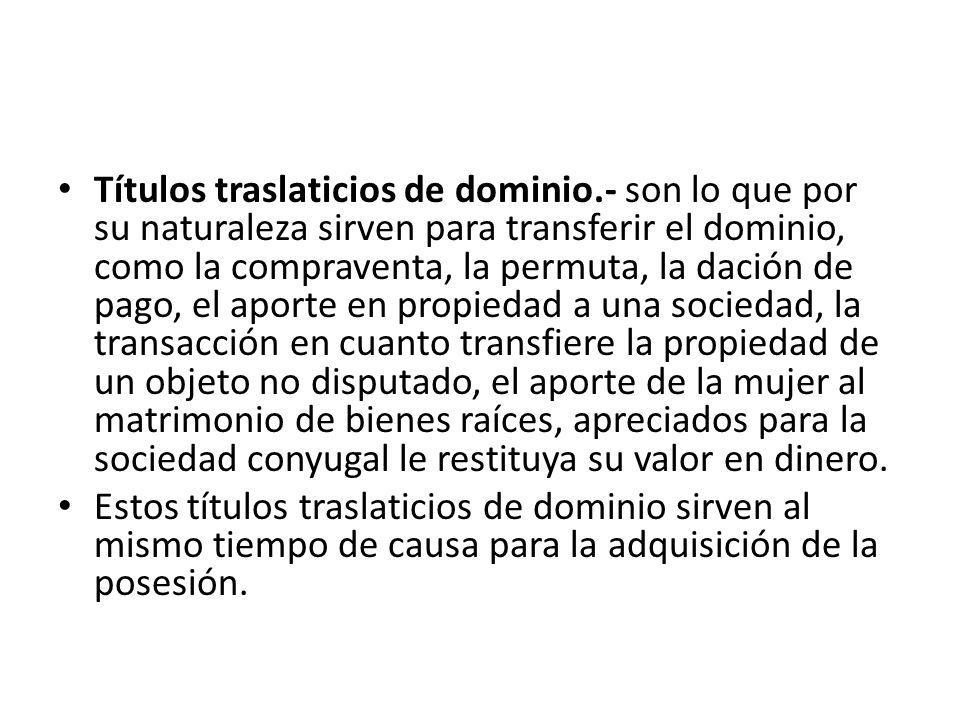 Títulos traslaticios de dominio