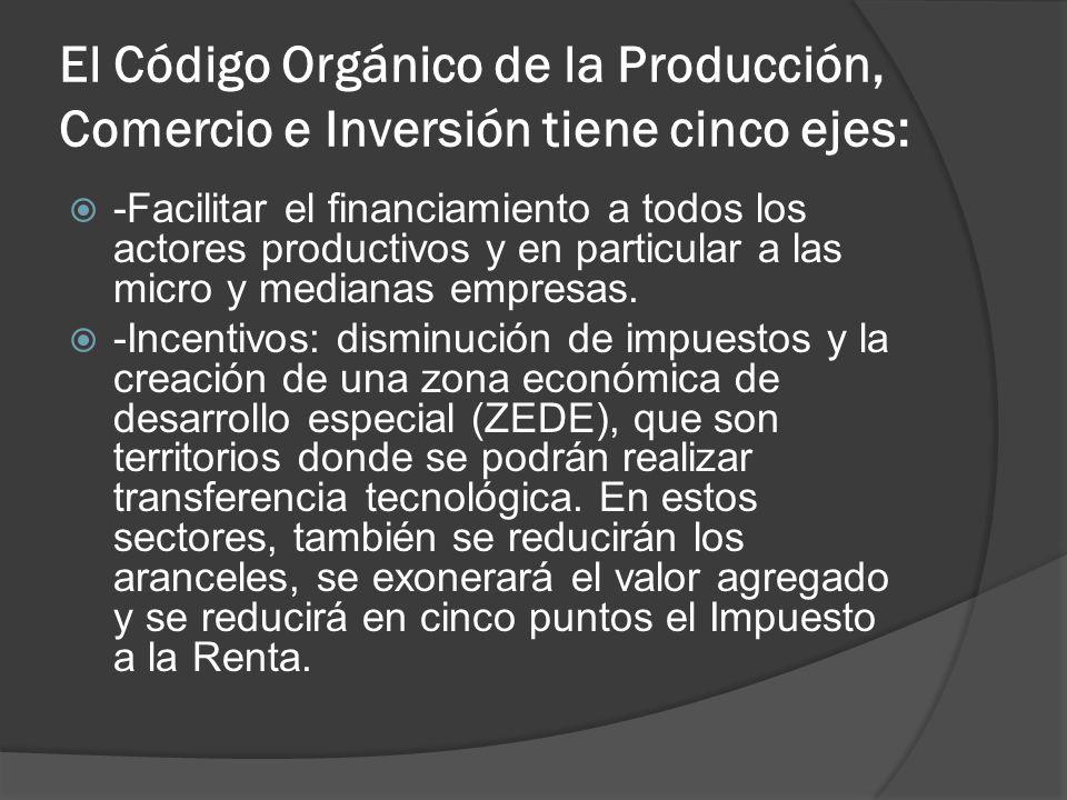 El Código Orgánico de la Producción, Comercio e Inversión tiene cinco ejes: