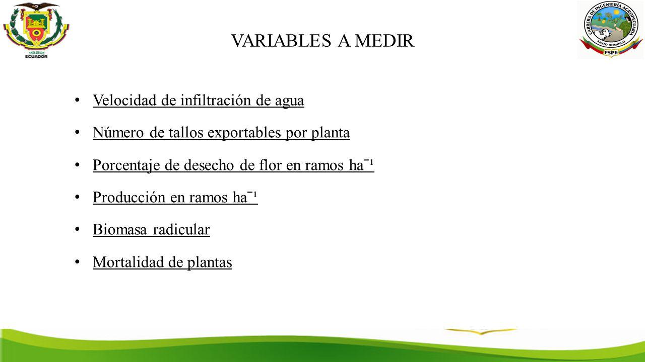 VARIABLES A MEDIR Velocidad de infiltración de agua