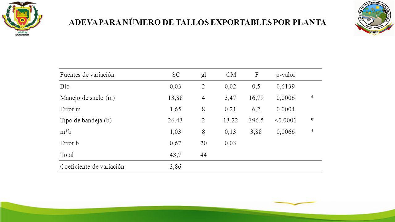 ADEVA PARA NÚMERO DE TALLOS EXPORTABLES POR PLANTA