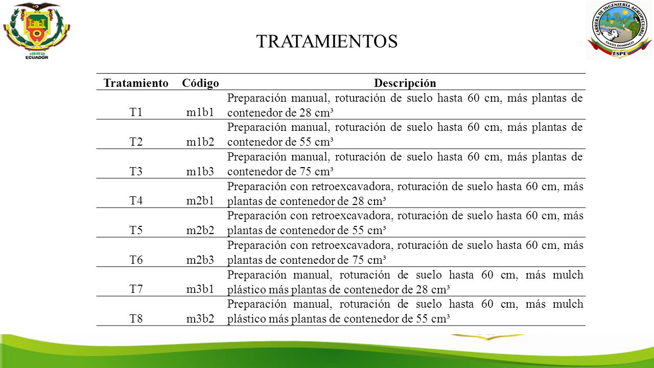 TRATAMIENTOS Tratamiento Código Descripción T1 m1b1
