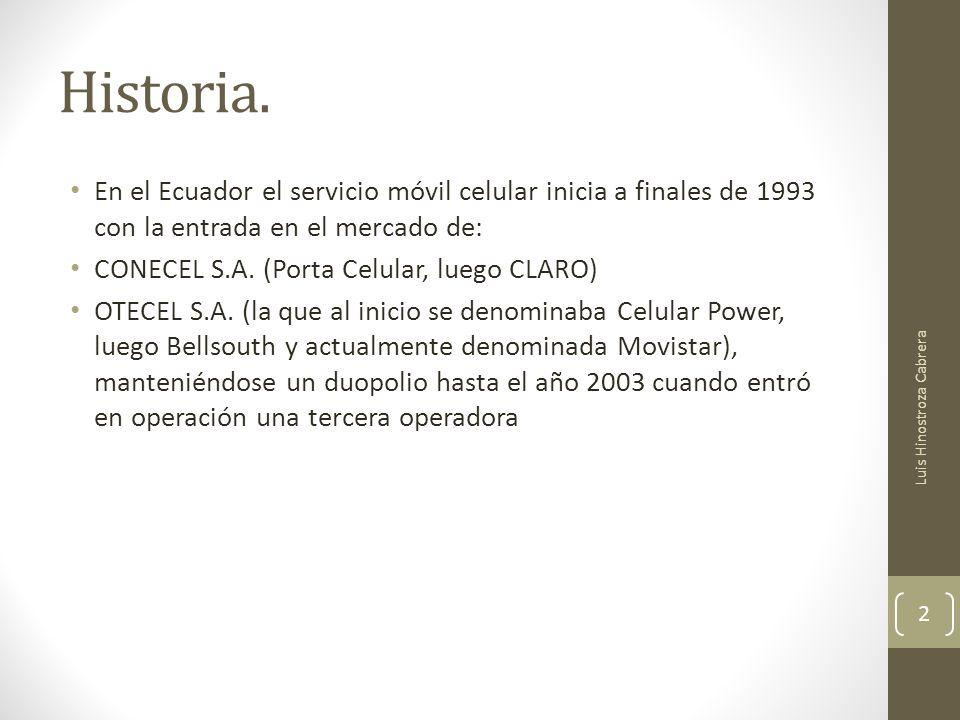Historia. En el Ecuador el servicio móvil celular inicia a finales de 1993 con la entrada en el mercado de: