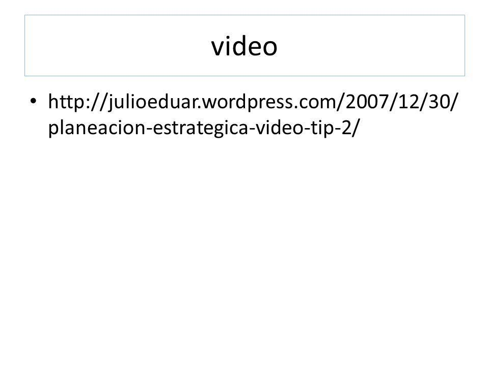 video http://julioeduar.wordpress.com/2007/12/30/planeacion-estrategica-video-tip-2/