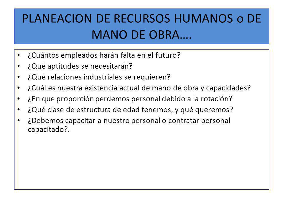 PLANEACION DE RECURSOS HUMANOS o DE MANO DE OBRA….