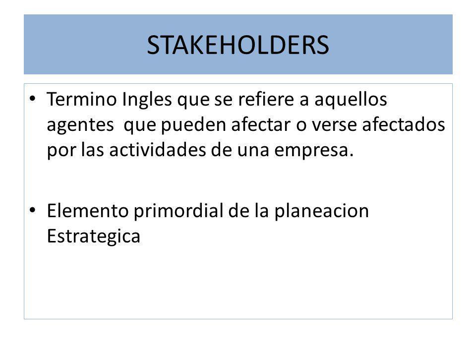 STAKEHOLDERS Termino Ingles que se refiere a aquellos agentes que pueden afectar o verse afectados por las actividades de una empresa.