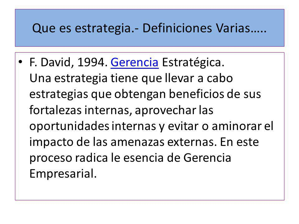 Que es estrategia.- Definiciones Varias…..