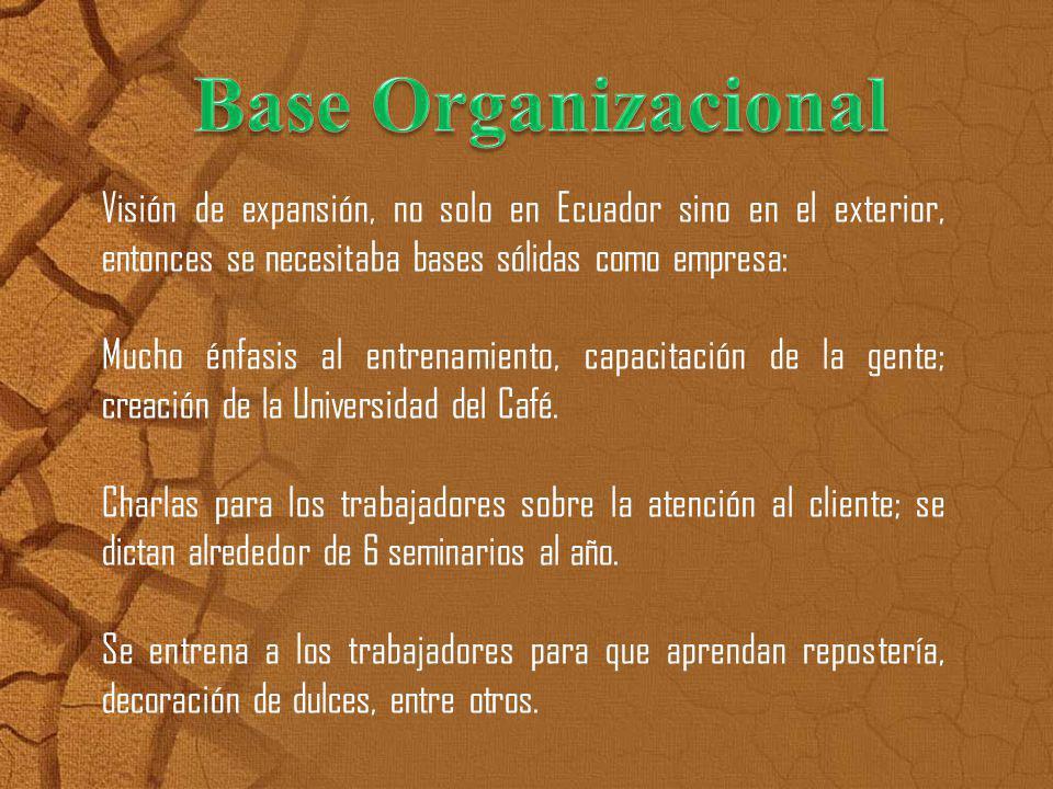 Base Organizacional Visión de expansión, no solo en Ecuador sino en el exterior, entonces se necesitaba bases sólidas como empresa: