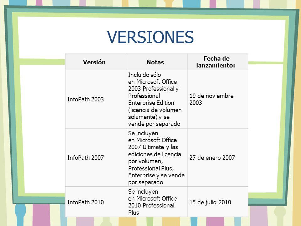 VERSIONES Versión Notas Fecha de lanzamiento: InfoPath 2003