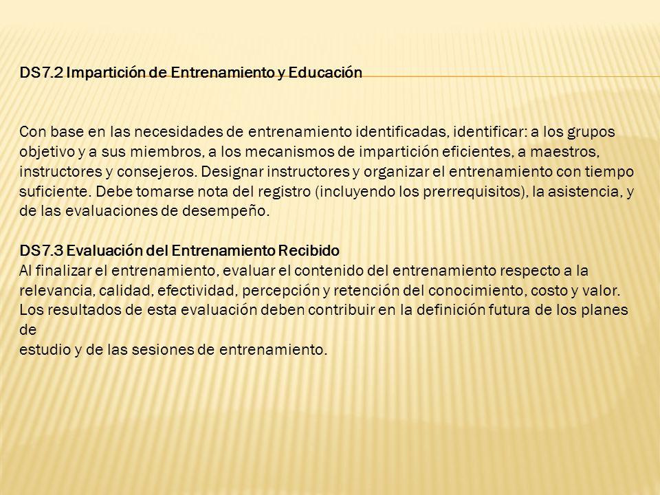 DS7.2 Impartición de Entrenamiento y Educación