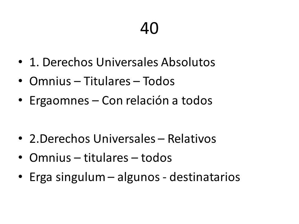 40 1. Derechos Universales Absolutos Omnius – Titulares – Todos