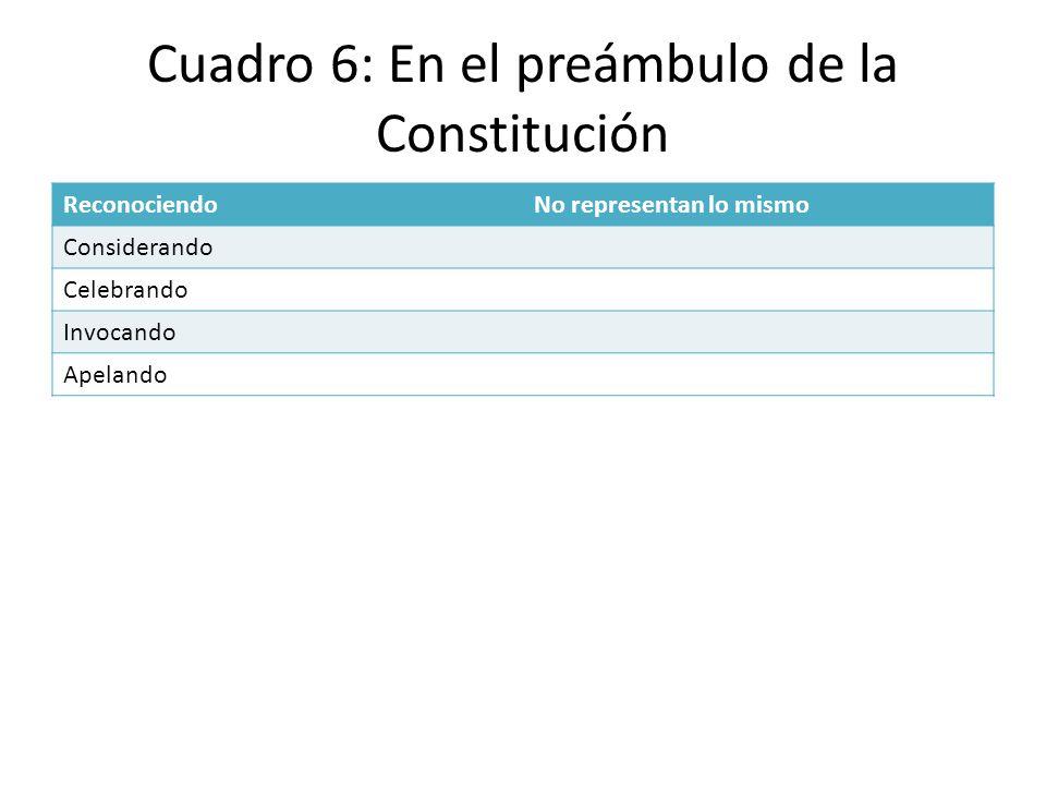 Cuadro 6: En el preámbulo de la Constitución