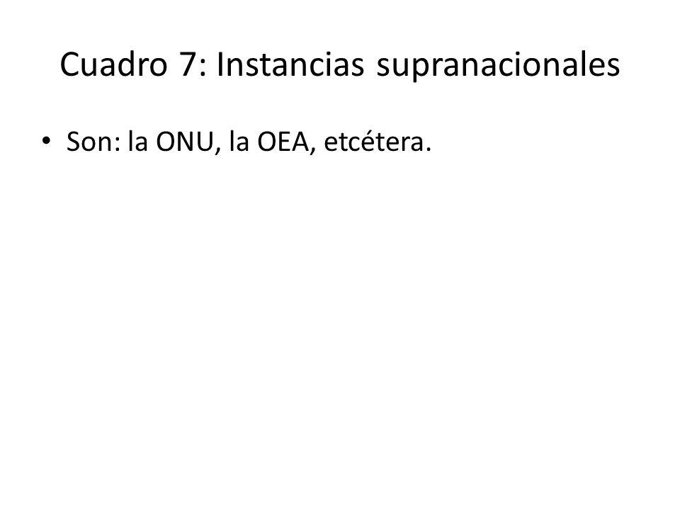 Cuadro 7: Instancias supranacionales