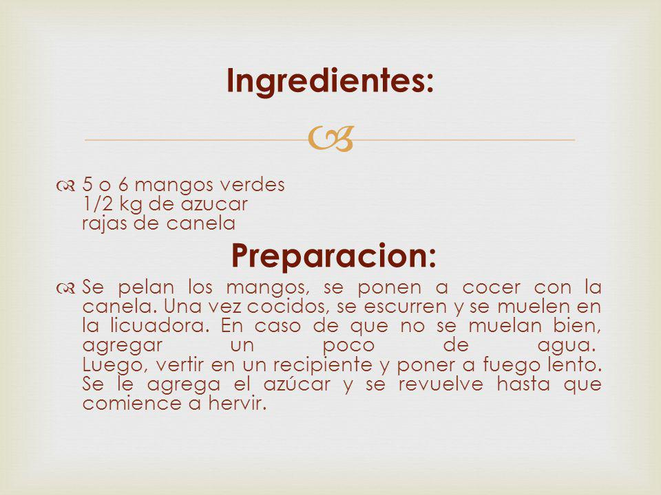 Ingredientes: Preparacion: