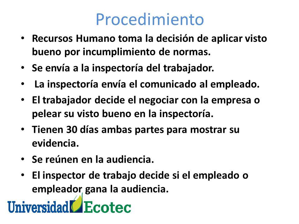 Procedimiento Recursos Humano toma la decisión de aplicar visto bueno por incumplimiento de normas.