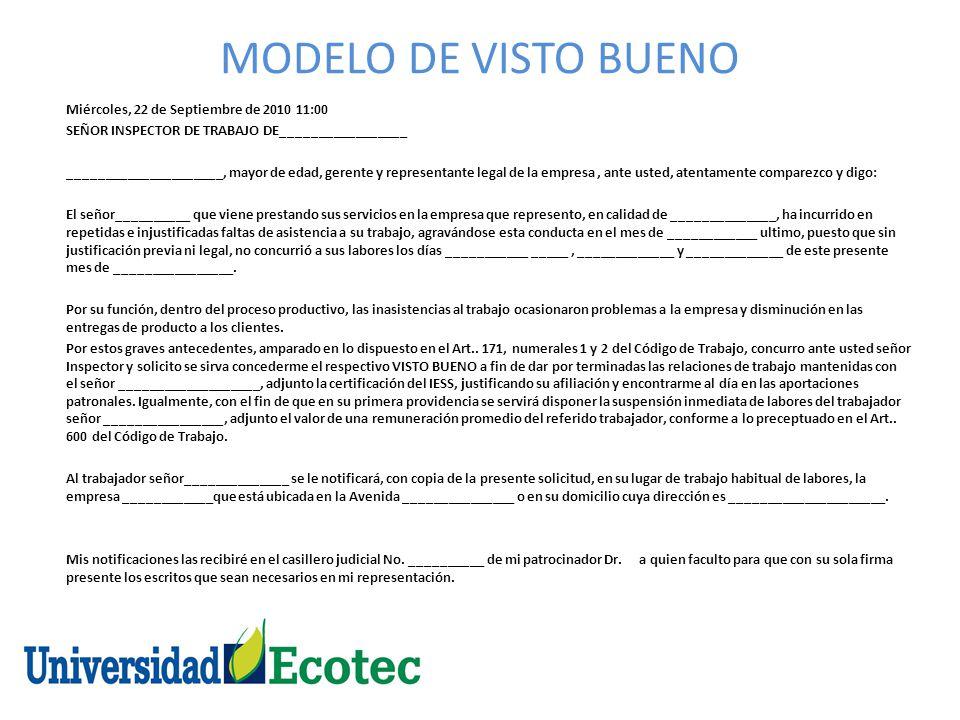 MODELO DE VISTO BUENO