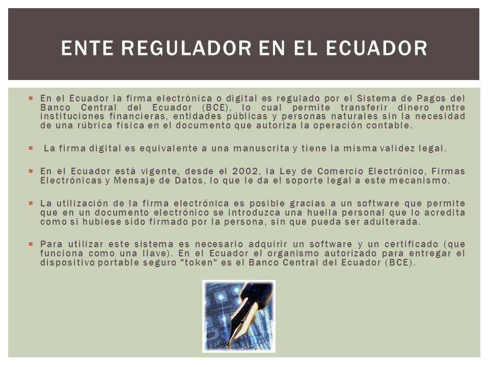 Ente regulador en el Ecuador