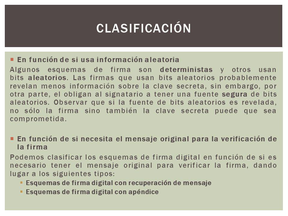Clasificación En función de si usa información aleatoria