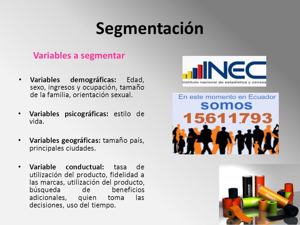 Segmentación Variables a segmentar