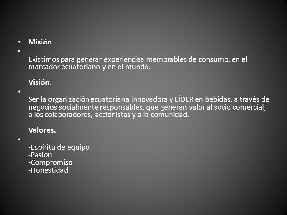 Misión Existimos para generar experiencias memorables de consumo, en el marcador ecuatoriano y en el mundo. Visión.