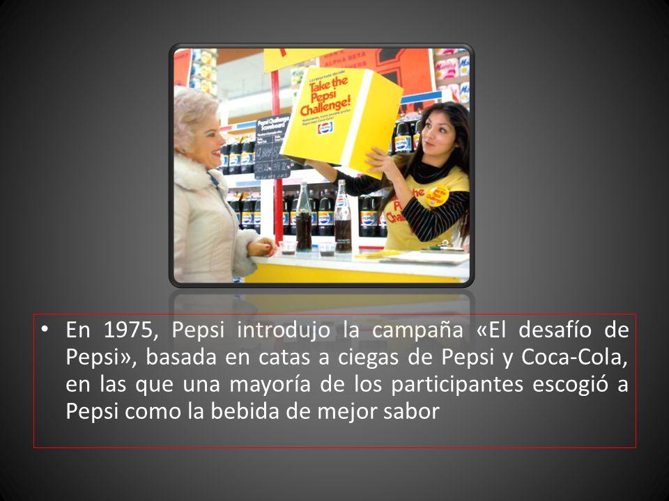 En 1975, Pepsi introdujo la campaña «El desafío de Pepsi», basada en catas a ciegas de Pepsi y Coca-Cola, en las que una mayoría de los participantes escogió a Pepsi como la bebida de mejor sabor