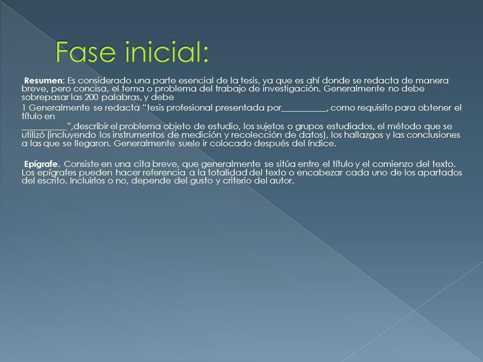Fase inicial: