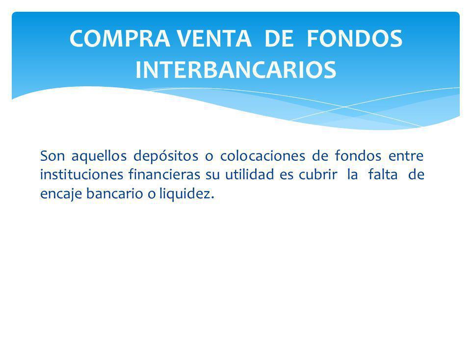 COMPRA VENTA DE FONDOS INTERBANCARIOS