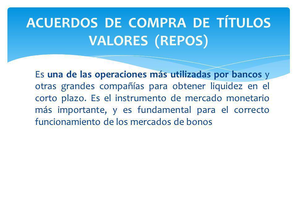 ACUERDOS DE COMPRA DE TÍTULOS VALORES (REPOS)