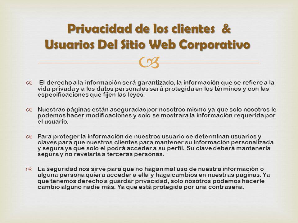Privacidad de los clientes & Usuarios Del Sitio Web Corporativo