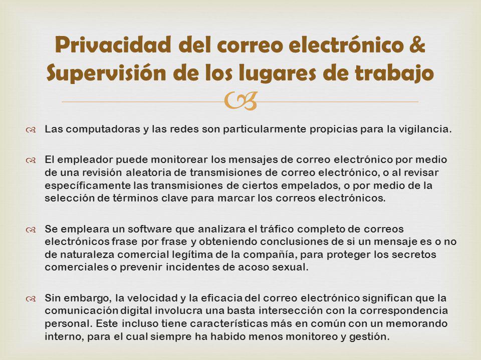 Privacidad del correo electrónico & Supervisión de los lugares de trabajo