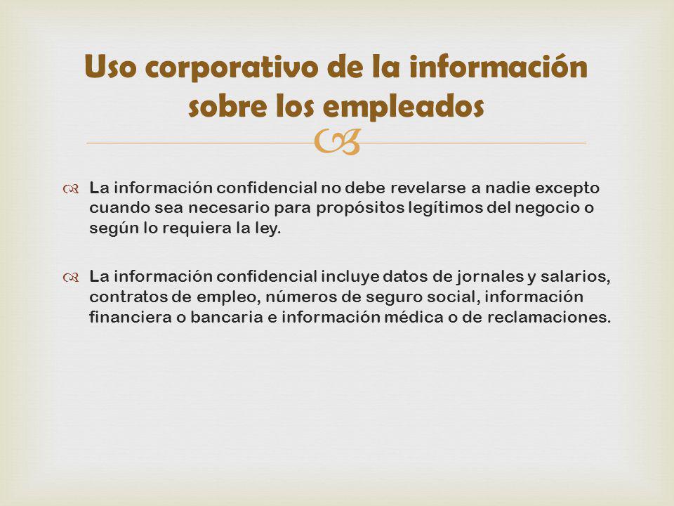 Uso corporativo de la información sobre los empleados