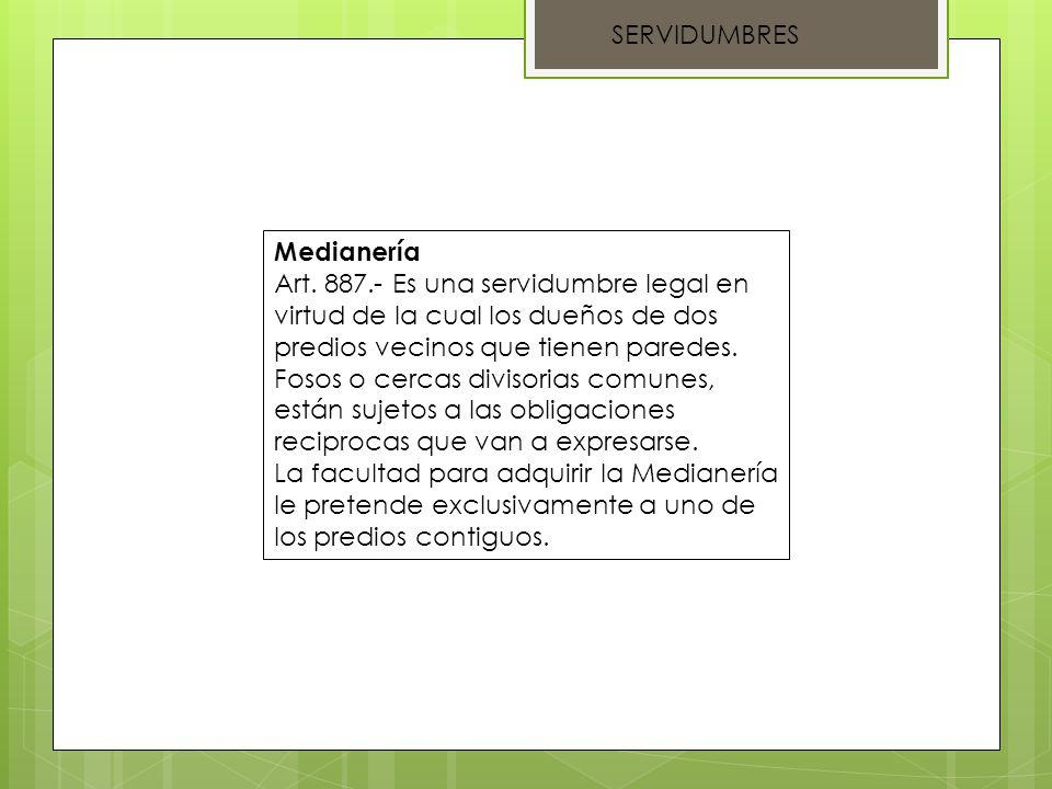 SERVIDUMBRES Medianería.