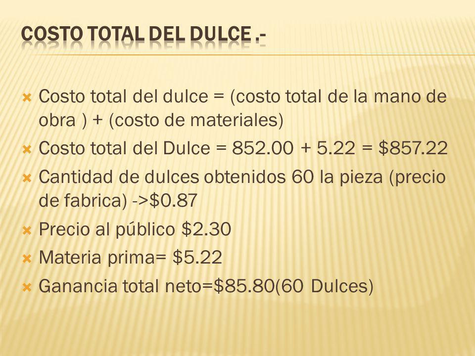 COSTO TOTAL DEL DULCE .- Costo total del dulce = (costo total de la mano de obra ) + (costo de materiales)