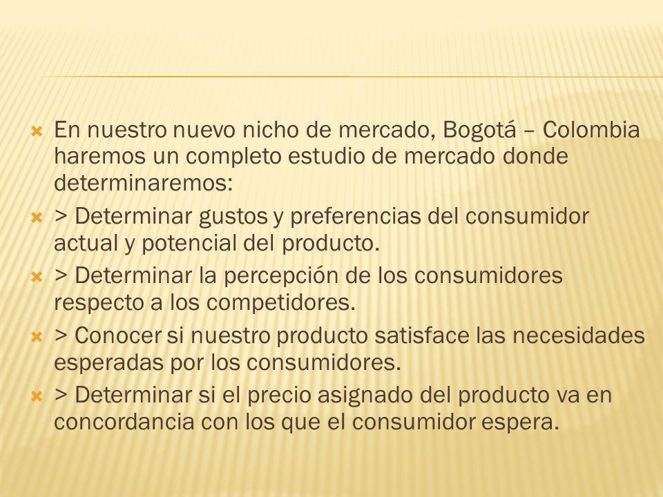 En nuestro nuevo nicho de mercado, Bogotá – Colombia haremos un completo estudio de mercado donde determinaremos: