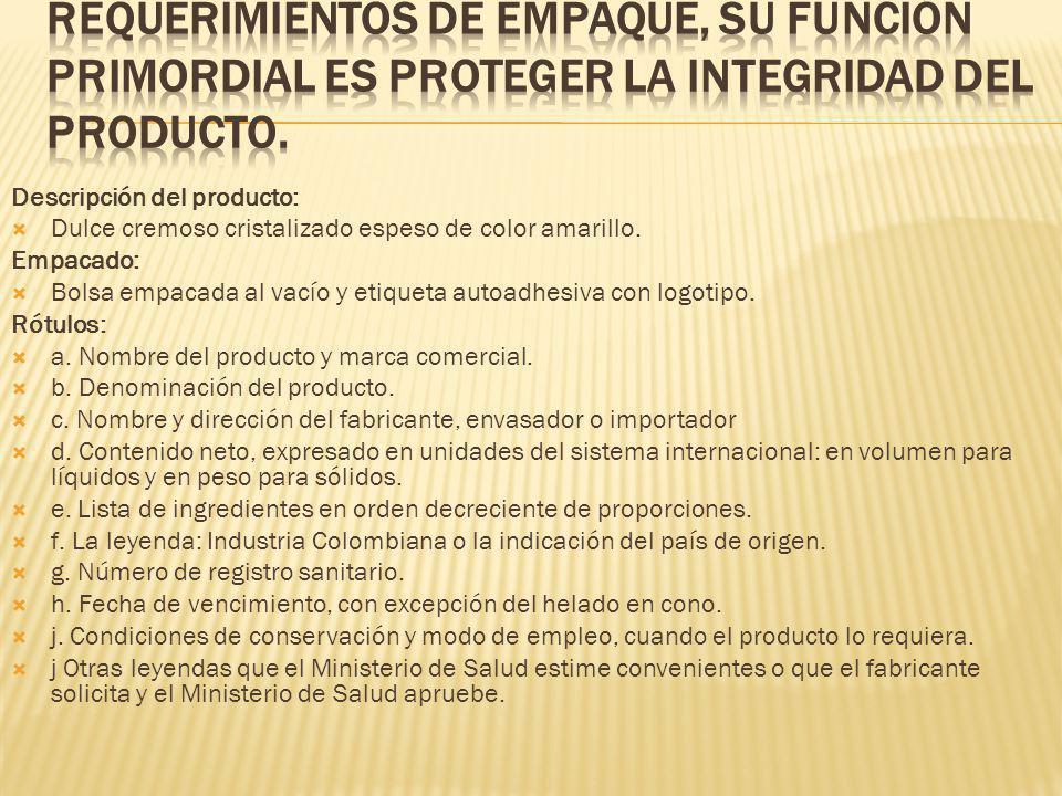 Requerimientos de empaque, su función primordial es proteger la integridad del producto.