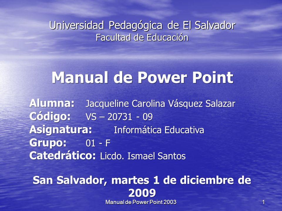 Universidad Pedagógica de El Salvador Facultad de Educación