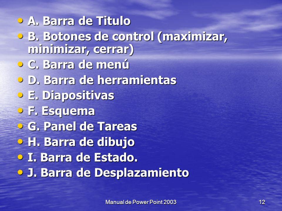 B. Botones de control (maximizar, minimizar, cerrar) C. Barra de menú