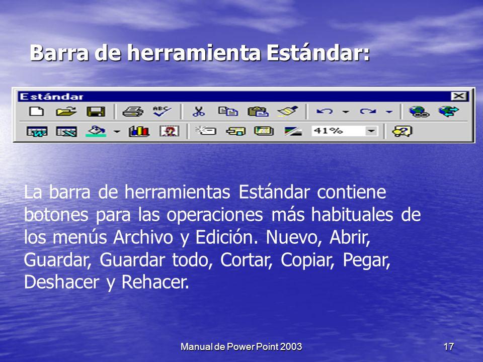 Barra de herramienta Estándar: