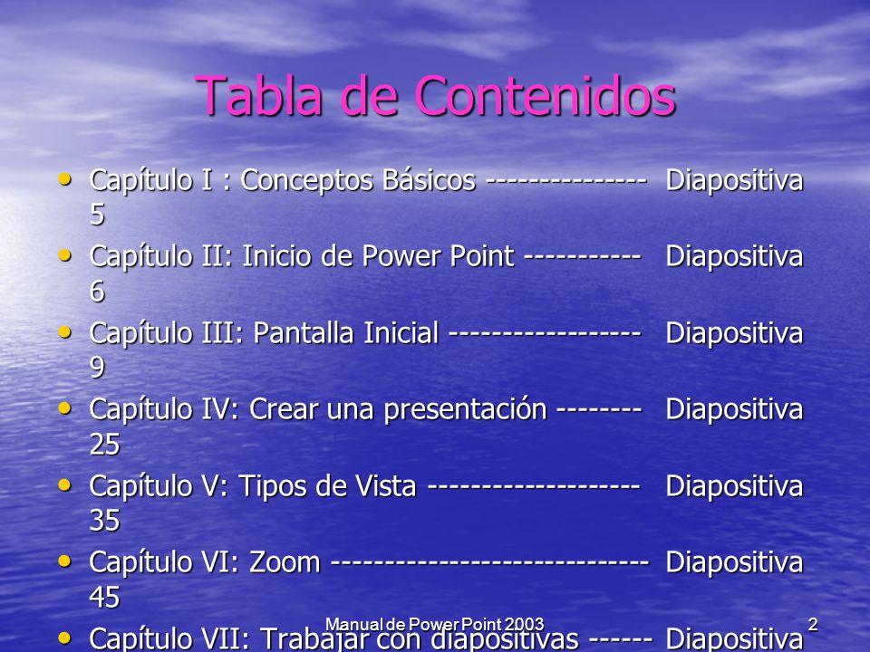 Tabla de Contenidos Capítulo I : Conceptos Básicos --------------- Diapositiva 5. Capítulo II: Inicio de Power Point ----------- Diapositiva 6.