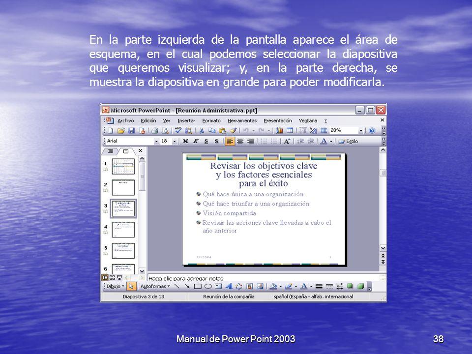En la parte izquierda de la pantalla aparece el área de esquema, en el cual podemos seleccionar la diapositiva que queremos visualizar; y, en la parte derecha, se muestra la diapositiva en grande para poder modificarla.