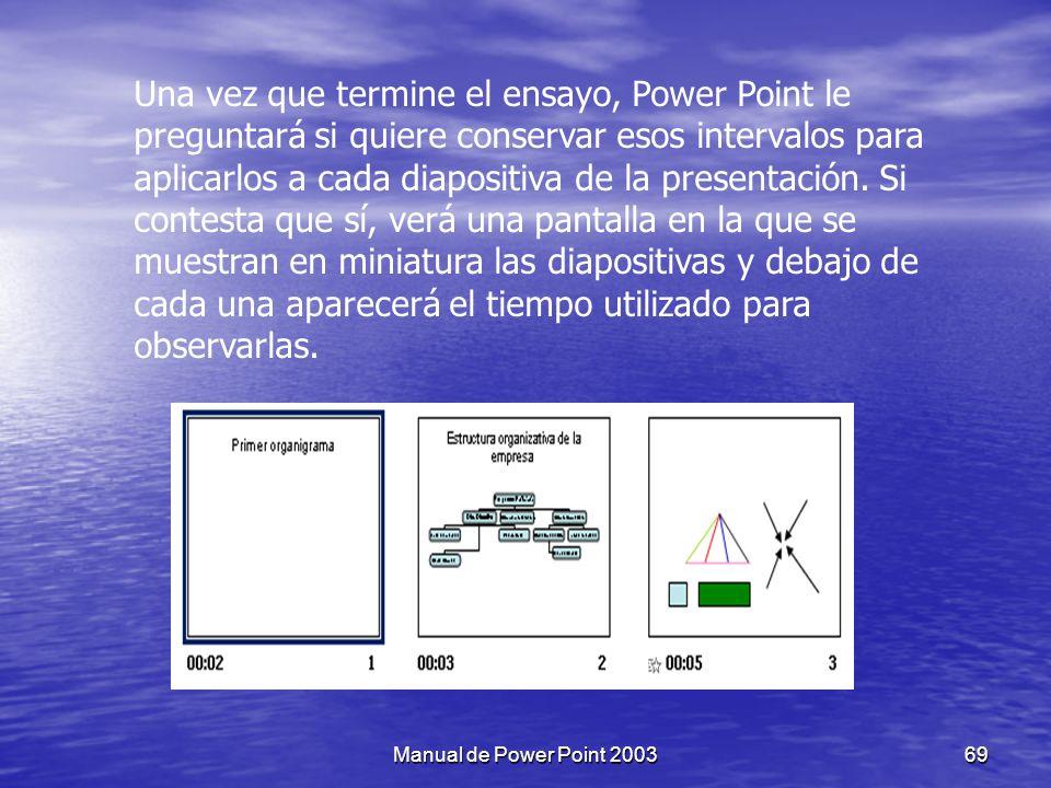 Una vez que termine el ensayo, Power Point le preguntará si quiere conservar esos intervalos para aplicarlos a cada diapositiva de la presentación. Si contesta que sí, verá una pantalla en la que se muestran en miniatura las diapositivas y debajo de cada una aparecerá el tiempo utilizado para observarlas.
