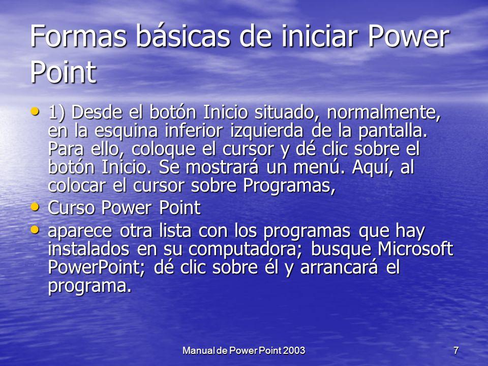 Formas básicas de iniciar Power Point