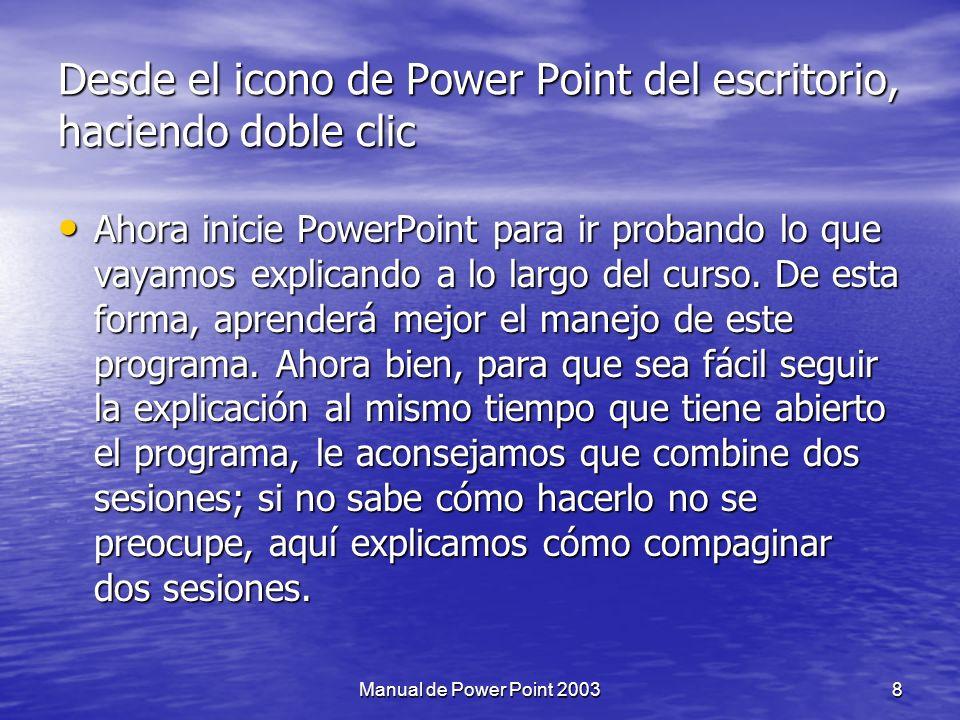 Desde el icono de Power Point del escritorio, haciendo doble clic