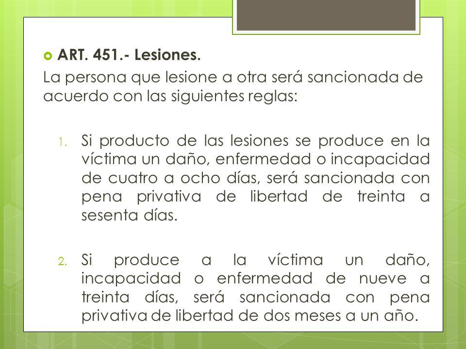 ART. 451.- Lesiones. La persona que lesione a otra será sancionada de acuerdo con las siguientes reglas: