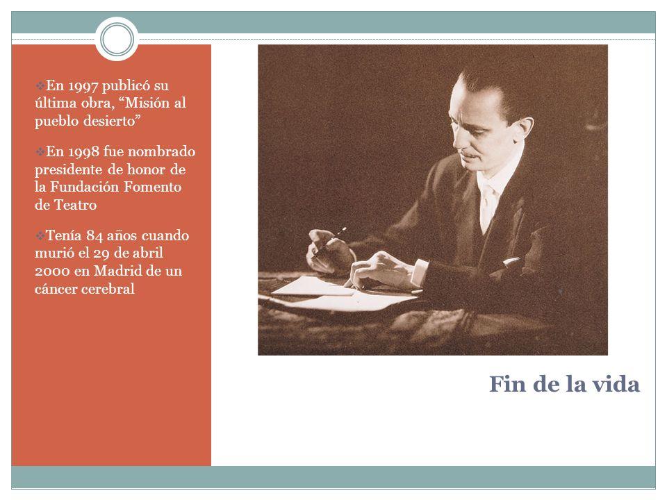 En 1997 publicó su última obra, Misión al pueblo desierto