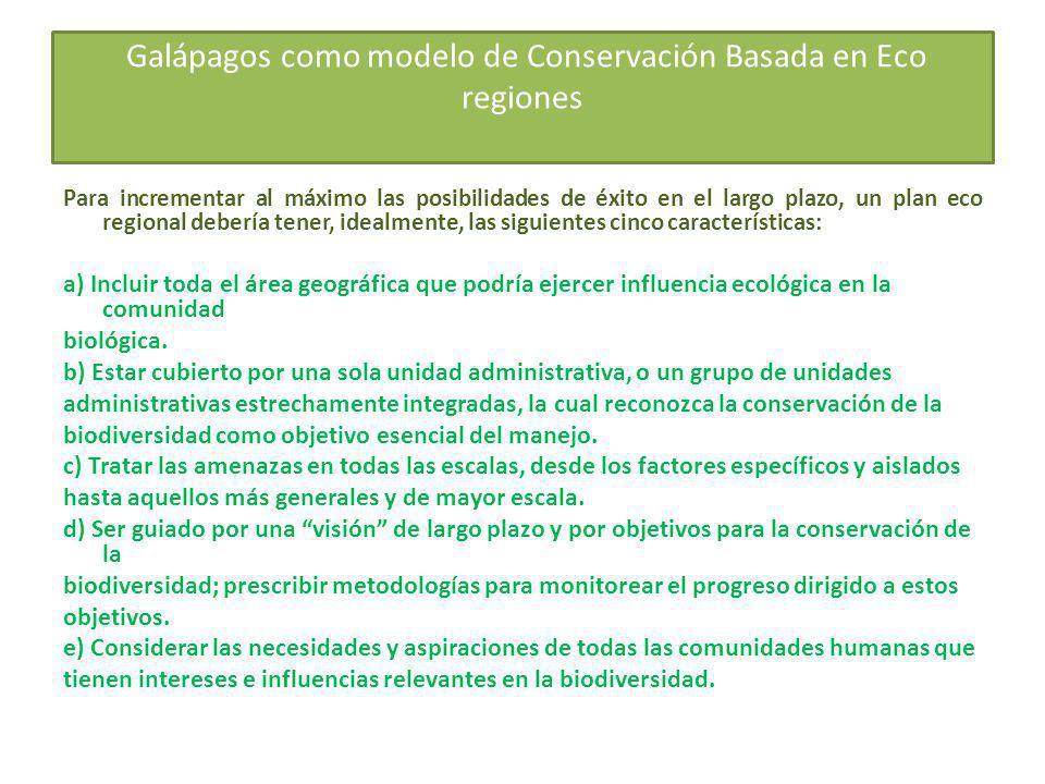 Galápagos como modelo de Conservación Basada en Eco regiones