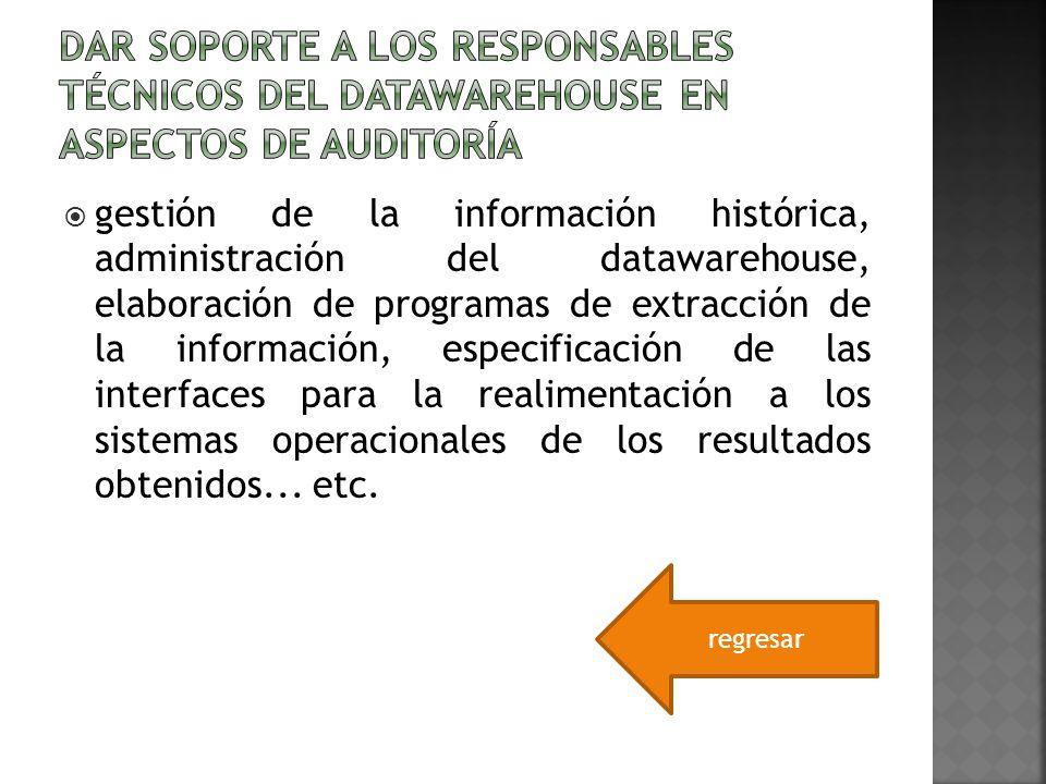 Dar soporte a los responsables técnicos del datawarehouse en aspectos de auditoría