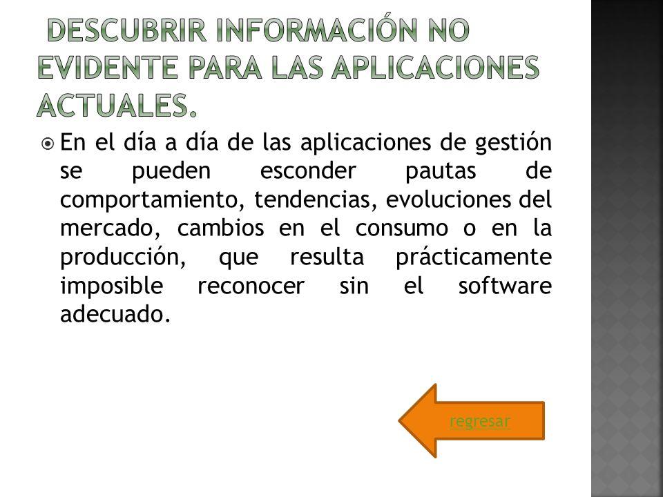 Descubrir información no evidente para las aplicaciones actuales.
