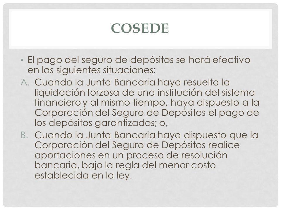 COSEDE El pago del seguro de depósitos se hará efectivo en las siguientes situaciones: